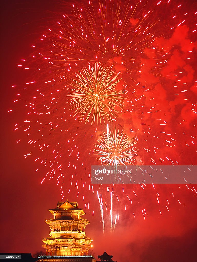 Fireworks explode in the sky to greet the Lantern Festival on February 24, 2013 in Linfen, Shanxi Province of China. The Chinese Lunar New Year also known as the Spring Festival, which is based on the Lunisolar Chinese calendar, is celebrated from the first day of the first month of the lunar year and ends with Lantern Festival on the Fifteenth day. 2013 is the Year of the Snake according the 12-year cycle of animals which appear in the Chinese Zodiac.