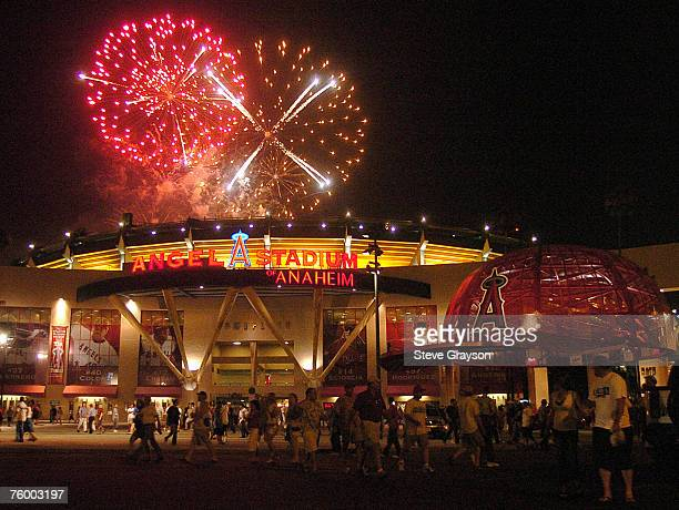 Fireworks explode over Angels Stadium of Anaheim after their victory over the New York Yankees July 23 2005