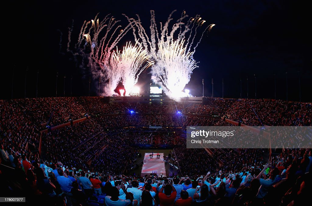 Fireworks explode over Arthur Ashe Stadium during the opening ceremony on Day One of the 2013 US Open at the USTA Billie Jean King National Tennis Center on August 26, 2013 in New York City.