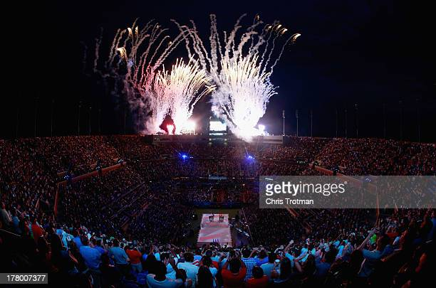 Fireworks explode over Arthur Ashe Stadium during the opening ceremony on Day One of the 2013 US Open at the USTA Billie Jean King National Tennis...