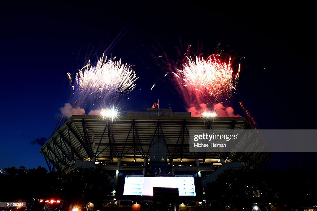 Fireworks explode over Arthur Ashe Stadium during the opening ceremony on Day One of the 2014 US Open at the USTA Billie Jean King National Tennis Center on August 25, 2014 in the Flushing neighborhood of the Queens borough of New York City.