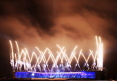 Fireworks explode over Celtic Park during the Opening Ceremony for the Glasgow 2014 Commonwealth Games at Celtic Park on July 23 2014 in Glasgow...