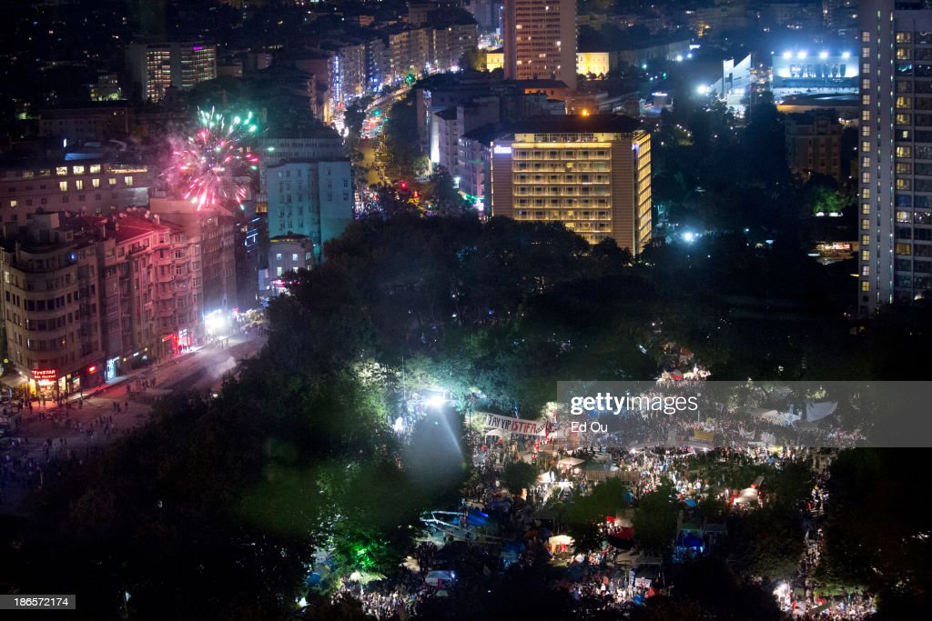 Fireworks explode over Gezi Park in Istanbul Turkey during a mass protest and sitin on June 9 2013 What started out as a protest over the demolition...
