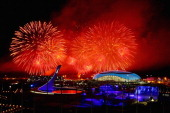Fireworks explode over Olympic Park during the 2014 Sochi Winter Olympics Closing Ceremony on February 23 2014 in Sochi Russia