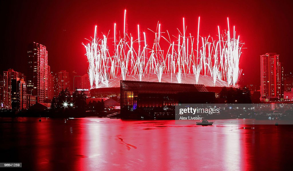 Fireworks explode over the BC Place Stadium and the Vancouver city skyline during the Opening Ceremony for the Vancouver 2010 Winter Olympics at BC Place on February 12, 2010 in Vancouver, Canada.