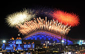 Fireworks explode over the Fisht Olympic Stadium at the begining of the Opening Ceremony of the Sochi Winter Olympics on February 7 2014 in Sochi AFP...