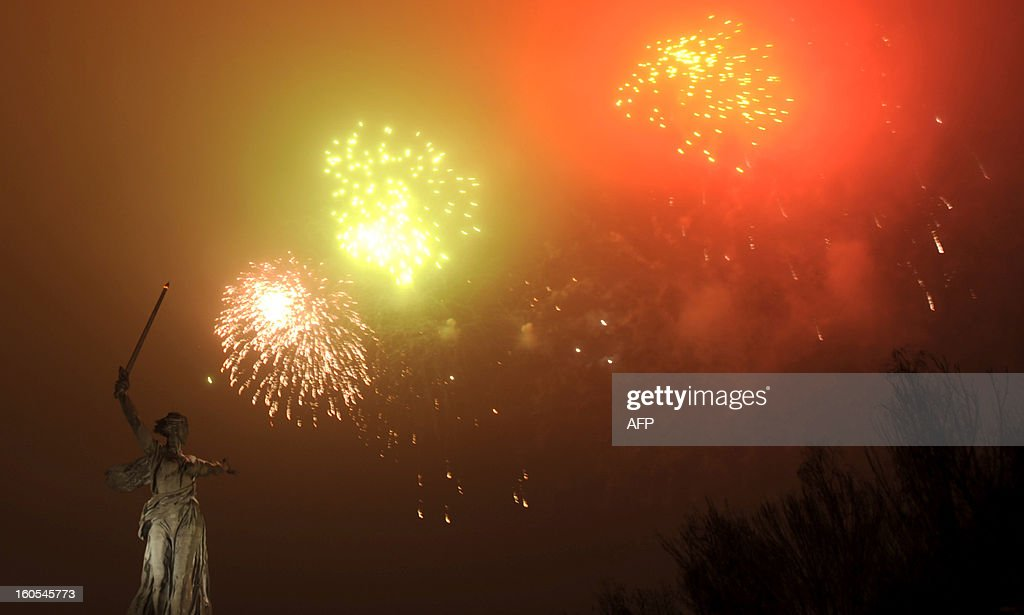 Fireworks explode over the giant Mother Motherland statue, at the Stalingrad Battle memorial, in the Russian city of Volgograd, late on February 2, 2013. Russia marked today the 70th anniversary of a brutal battle in which the Red Army defeated Nazi forces and changed the course of World War II.