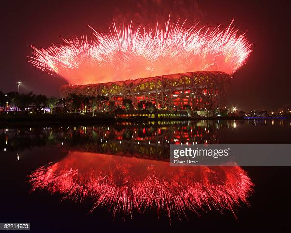 Fireworks explode over the National Stadium during the Opening Ceremony for the Beijing 2008 Olympic Games at the National Stadium on August 8 in...