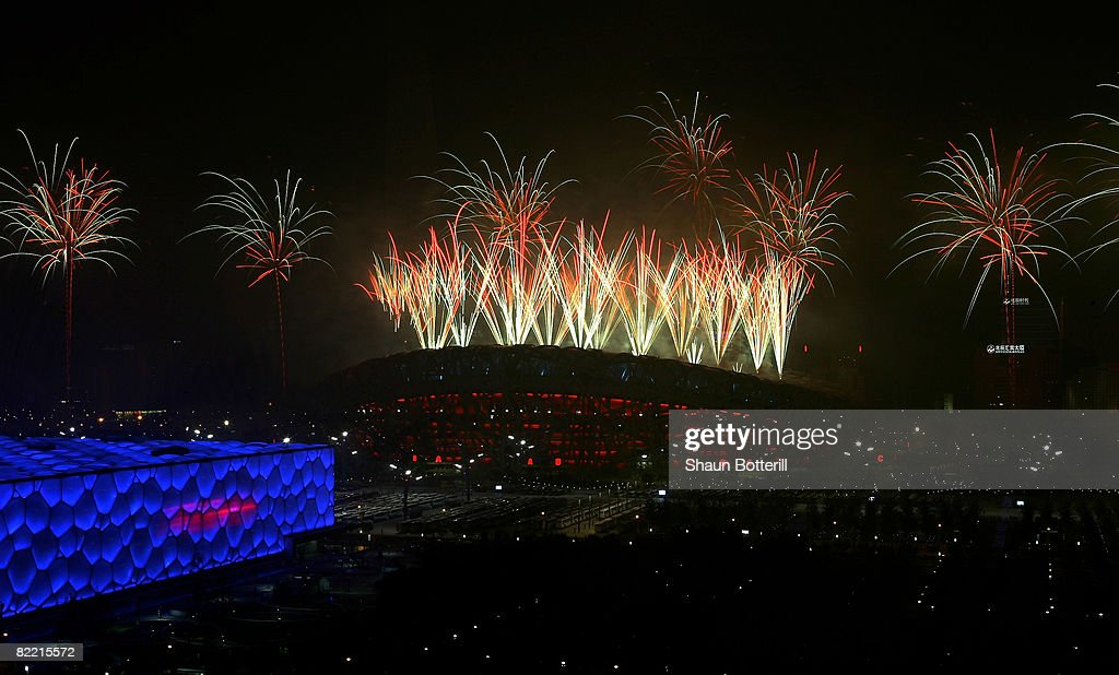 Fireworks explode over the National Stadium during the Opening Ceremony for the 2008 Beijing Summer Olympics on August 8, 2008 in Beijing, China.