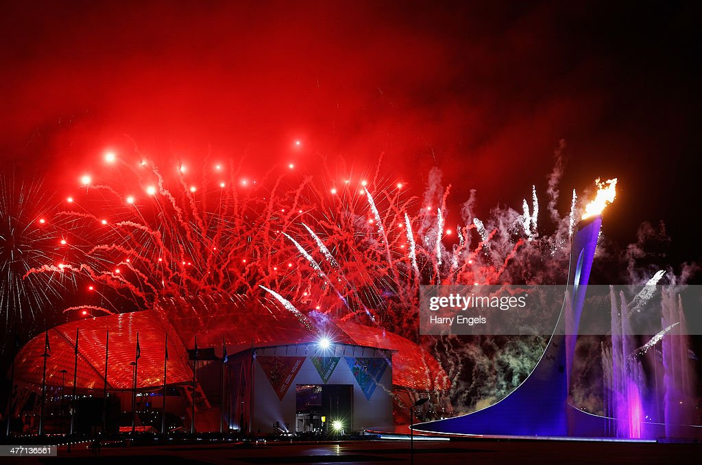 Fireworks explode over the Olympic Park at the end of the Opening Ceremony of the Sochi 2014 Paralympic Winter Games at Fisht Olympic Stadium on March 7, 2014 in Sochi, Russia.