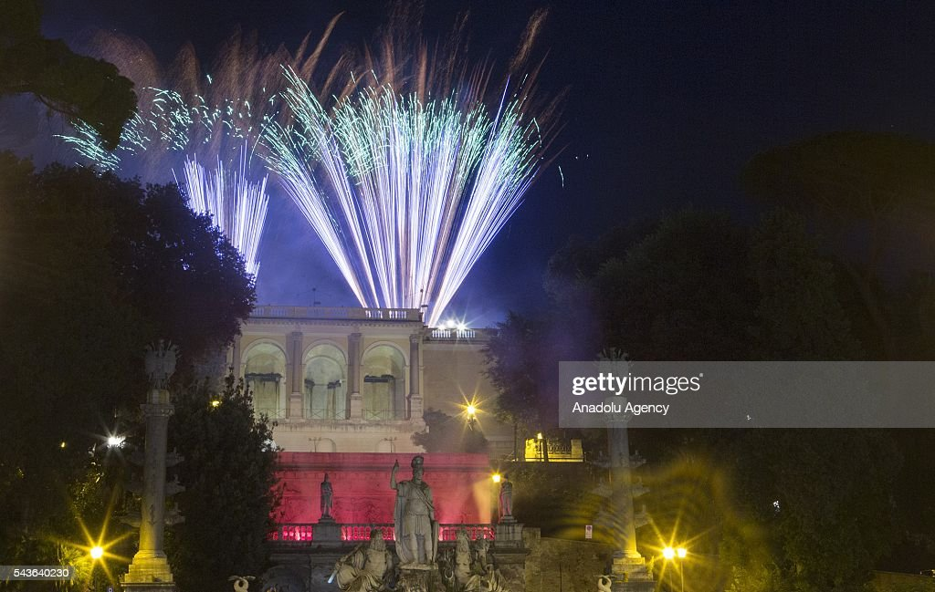 Fireworks explode over the Piazza del Popolo (People's Square) during the 'Feast of Saints Peter and Paul' celebrations in Rome, Italy on June 29, 2016.