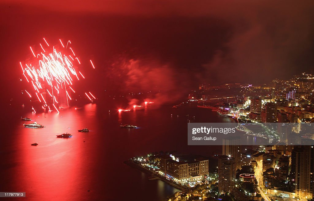 Fireworks explode over the sea in front of Monte Carlo following the dinner and religious ceremony of the Royal Wedding of Prince Albert II of Monaco to Princess Charlene of Monaco at the Prince's Palace on July 2, 2011 in Monaco, Monaco.The marriage of the head of state of the Principality of Monaco, Prince Albert II of Monaco to Charlene Wittstock, will take place in the Throne Room of the Prince's Palace of Monaco, followed by a religious ceremony to be conducted in the main courtyard of the Palace on July 2. Wittstock will become Princess consort of Monaco and gain the title Princess Charlene of Monaco.