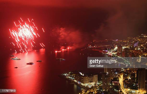 Fireworks explode over the sea in front of Monte Carlo following the dinner and religious ceremony of the Royal Wedding of Prince Albert II of Monaco...