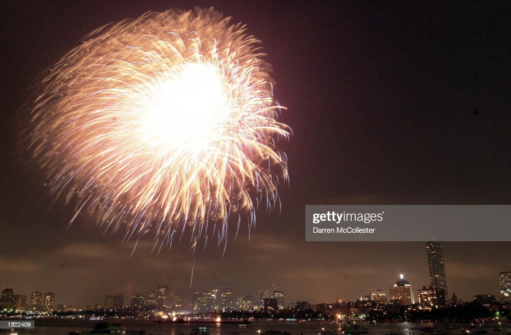 Fireworks explode over the skyline July 4, 2001 in Boston.