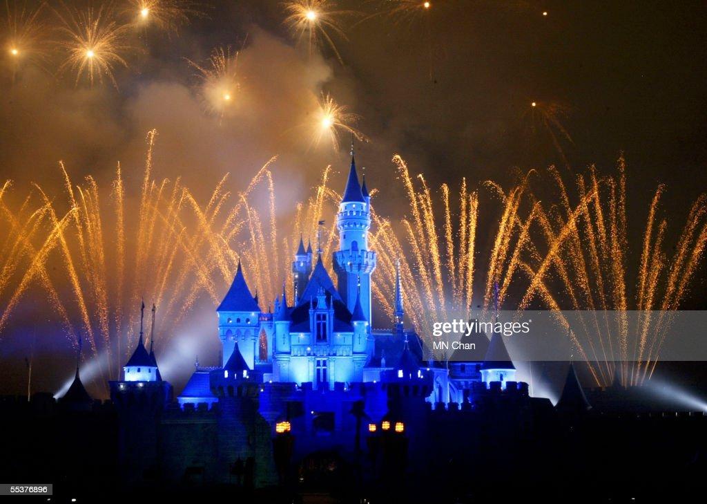 Fireworks explode over the Sleeping Beauty Castle at Hong Kong Disneyland at Hong Kong Disneyland September 11 2005 in Hong Kong The new theme park...
