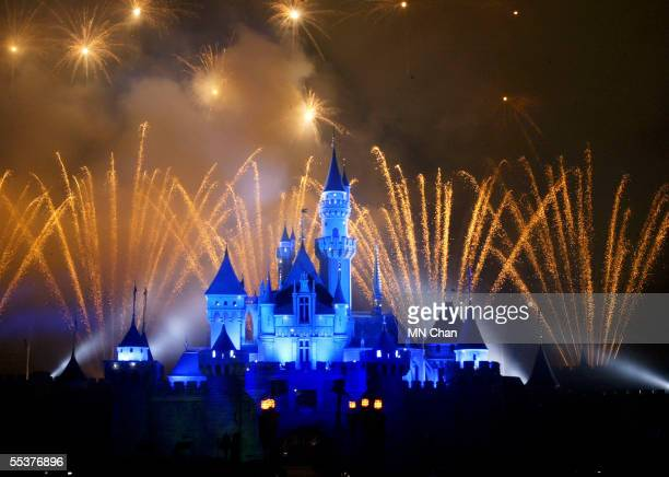 Fireworks explode over the Sleeping Beauty Castle at Hong Kong Disneyland at Hong Kong Disneyland September 11 2005 in Hong Kong The new theme park...