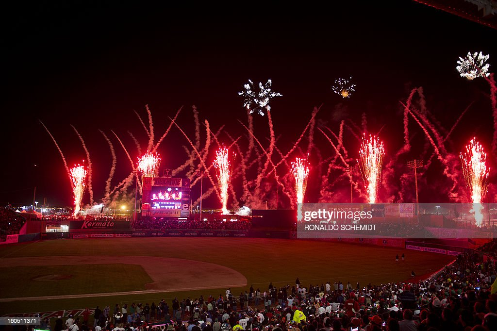 Fireworks explode over the Sonora Stadium during the opening ceremony of the 2013 Baseball Caribbean Series, on February 1, 2013, in Hermosillo, Sonora State, northern Mexico. AFP PHOTO/Ronaldo Schemidt