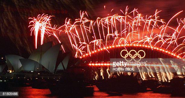 Fireworks explode over the Sydney Harbour 01 October 2000 after the closing ceremony of the Sydney 2000 Olympic Games After sixteen days of...