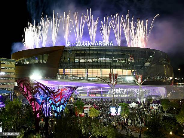 Fireworks explode over TMobile Arena during the venue's grand opening celebration on the Las Vegas Strip on April 6 2016 in Las Vegas Nevada