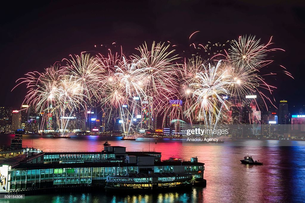 Fireworks explode over Victoria Harbor as part of celebrations of the Chinese New Year on February 09, 2016 in Hong Kong, China.