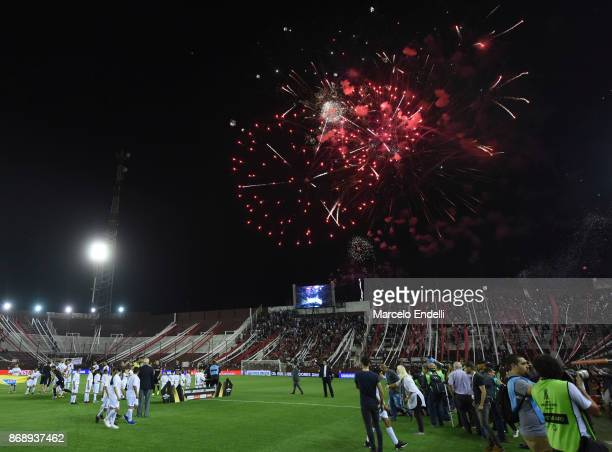 Fireworks explode prior a second leg match between Lanus and River Plate as part of the semifinals of Copa CONMEBOL Libertadores Bridgestone 2017 at...