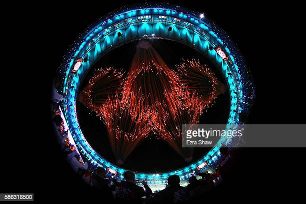 Fireworks explode to form the Olympic Rings during the Opening Ceremony of the Rio 2016 Olympic Games at Maracana Stadium on August 5 2016 in Rio de...