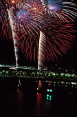 Fireworks exploding above Montreal , Quebec , Canada