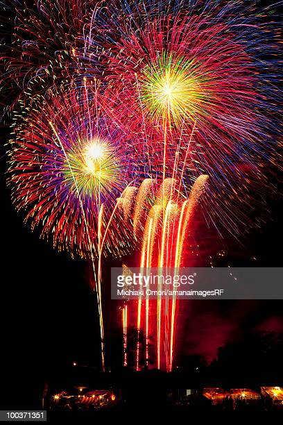 Fireworks exploding in sky, black background, long exposure, Tsuchiura city, Ibaragi prefecture, Japan