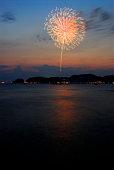 Fireworks exploding in sky, long exposure, Kamakura city, Kanagawa prefecture, Japan