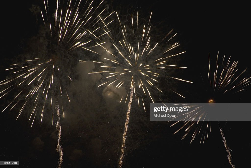 fireworks exploding in the nights sky : Stock Photo