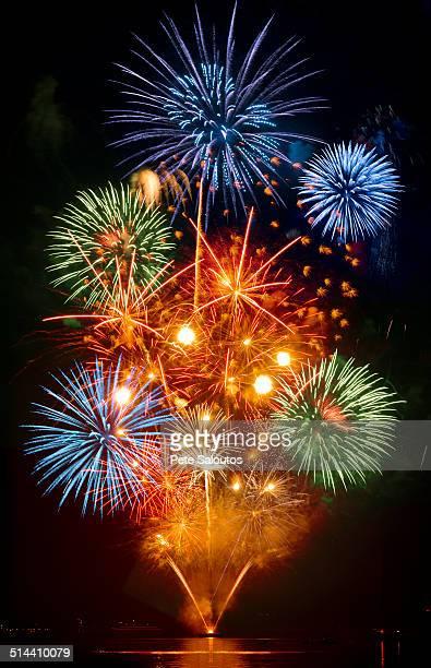 Fireworks exploding over cruise ship in harbor, Seattle, Washington, United States
