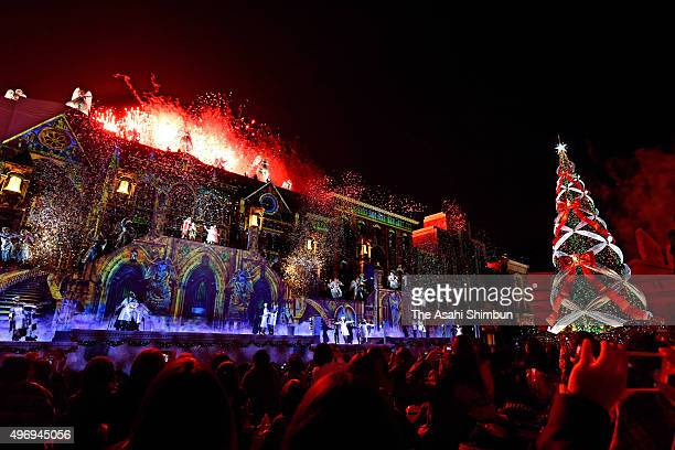 Fireworks explose in front of the 36meter Christmas tree which is illuminated with 374280 LED lights at Universal Studios Japan on November 12 2015...