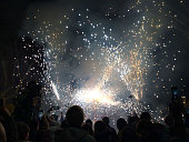 Fireworks. Popular parties, correfoc Barcelona.Many people disguise themselves as demons and go out in the streets throwing firecrackers and fireworks