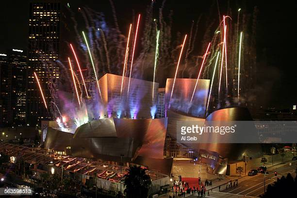 Fireworks flow from Walt Disney Concert Hall in Los Angeles Thursday Oct 23 2003 after the conclusion of the opening night GALA