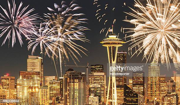 fireworks for a national holiday in Seattle