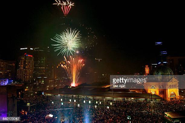 Fireworks from the Federation Square roof 31st December 2006 THE AGE NEWS Picture by PENNY STEPHENS