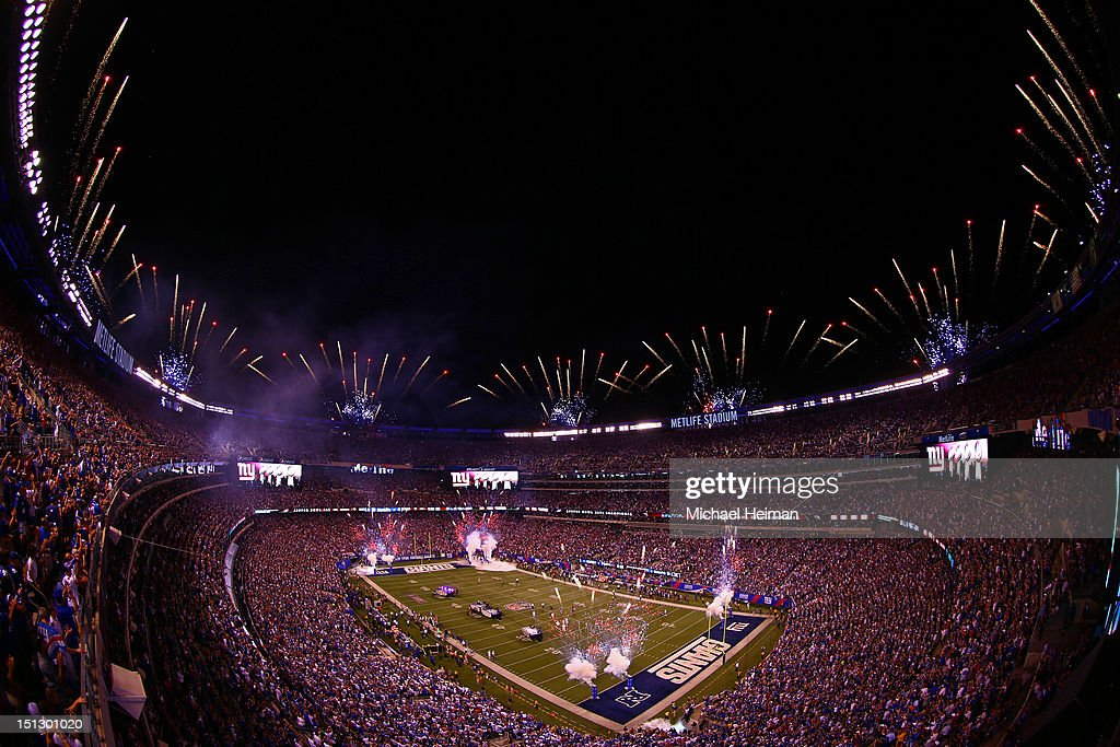 Fireworks go of atop MetLife Stadium prior to the 2012 NFL season opener between the New York Giants and the Dallas Cowboys on September 5, 2012 in East Rutherford, New Jersey.