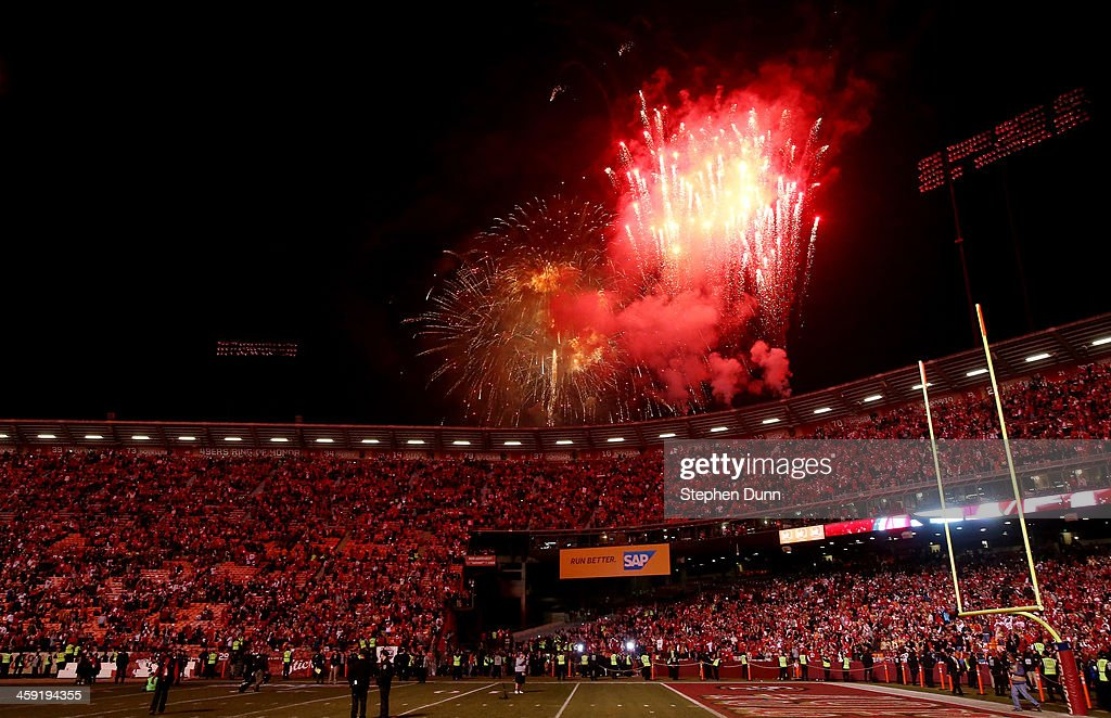 Fireworks go off after the last regular season game at Candlestick Park where the San Francisco 49ers defeated the Atlanta Falcons 34-24 on December 23, 2013 in San Francisco, California.
