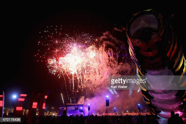Fireworks go off as AC/DC performs onstage during day 1 of the 2015 Coachella Valley Music And Arts Festival at The Empire Polo Club on April 17 2015...