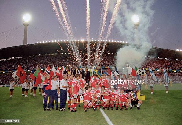 Fireworks go off as the Denmark team begin their celebrations after the UEFA European Championships 1992 Final between Denmark and Germany held at...