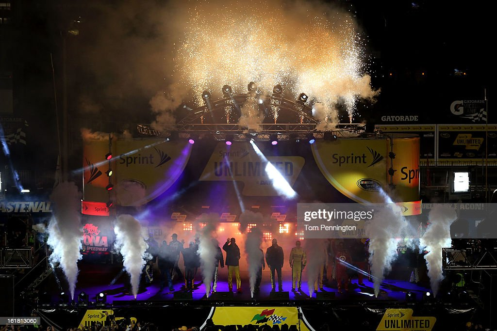 Fireworks go off as the drivers are introduced before the NASCAR Sprint Cup Series Sprint Unlimited at Daytona International Speedway on February 16, 2013 in Daytona Beach, Florida.