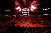 Fireworks go off as the starting line up for the Ohio State Buckeyes is announced to the crowd prior to the start of the game against the Marquette...