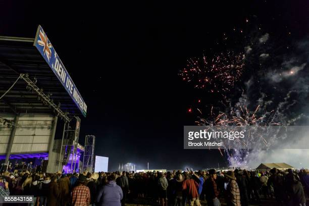 Fireworks go off before the performance by singer Shannon Knoll at the 2017 Deni Ute Muster on September 30 2017 in Deniliquin Australia The annual...