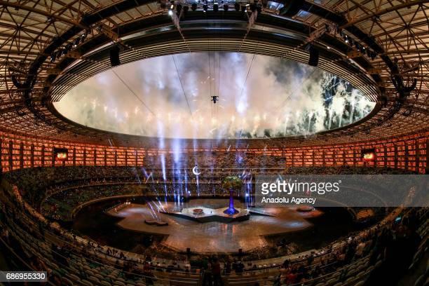 Fireworks go off during the closure ceremony of 4th Islamic Solidarity Games at Baku National Stadium in Baku Azerbaijan on May 22 2017