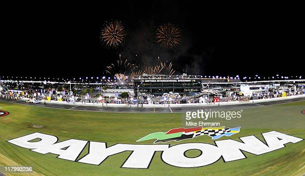 Fireworks go off over the infield during the NASCAR Sprint Cup Series Coke ZERO 400 Powered by CocaCola at Daytona International Speedway on July 2...