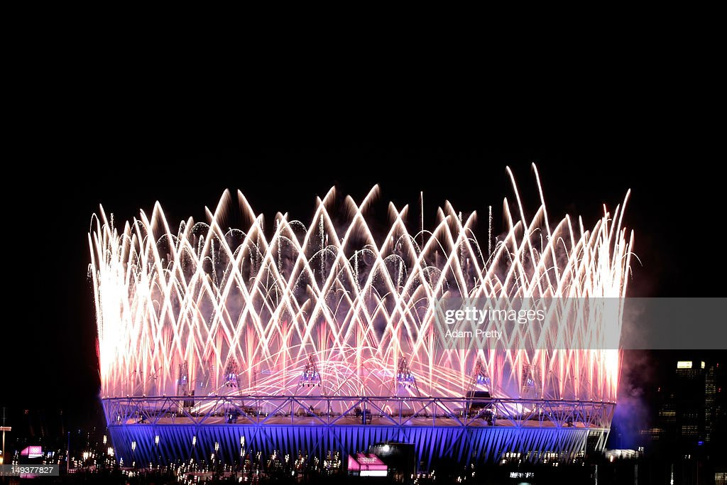 Fireworks go off over the Olympic Stadium during the Opening Ceremony of the London 2012 Olympic Games at the Olympic Stadium on July 27, 2012 in London, England.
