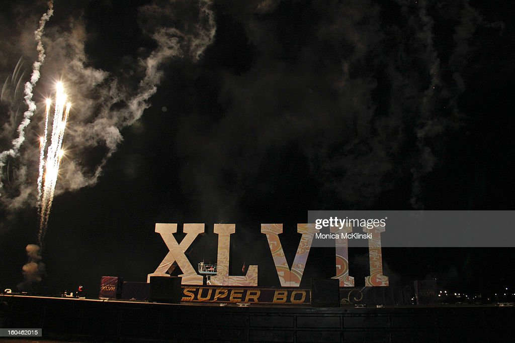 Fireworks herald the arrival of the Super Bowl XLVII roman numerals by barge at Woldenberg Park on January 31, 2013 in New Orleans, Louisiana.