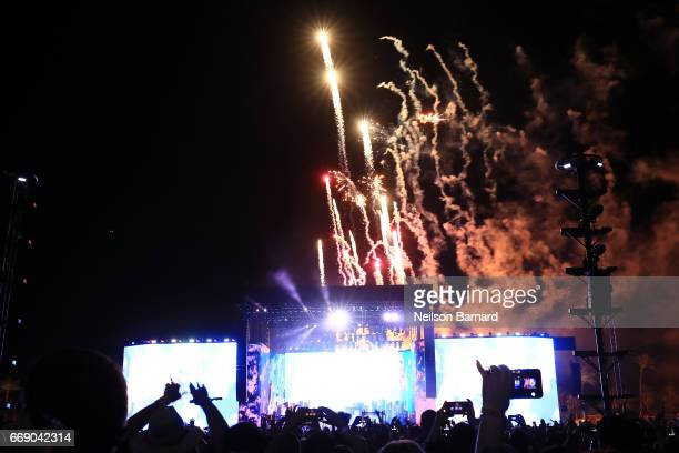 Fireworks herald the close of Lady Gaga's set during the 2017 Coachella Valley Music And Arts Festival on April 15 2017 in Indio California