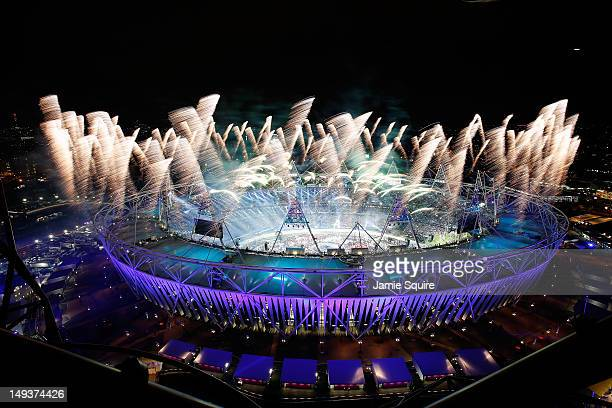 Fireworks ignite over the Olympic Stadium during the Opening Ceremony for the 2012 Olympic Games on July 27 2012 at Olympic Park in London England