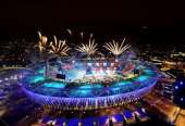 Fireworks ignite over the Olympic Stadium during the Opening Ceremony for the London 2012 Olympic Games on July 27 2012 at Olympic Park in London...